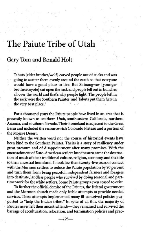 Page 144 of The Paiute Tribe of Utah by Gary Tom and Ronald Holt
