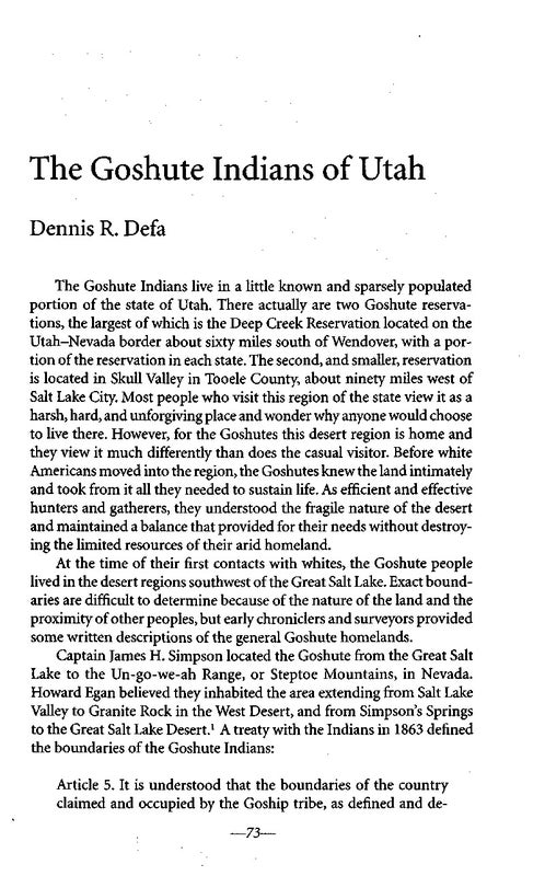 Page 94 of The Goshute Indians of Utah by Dennis R. Defa