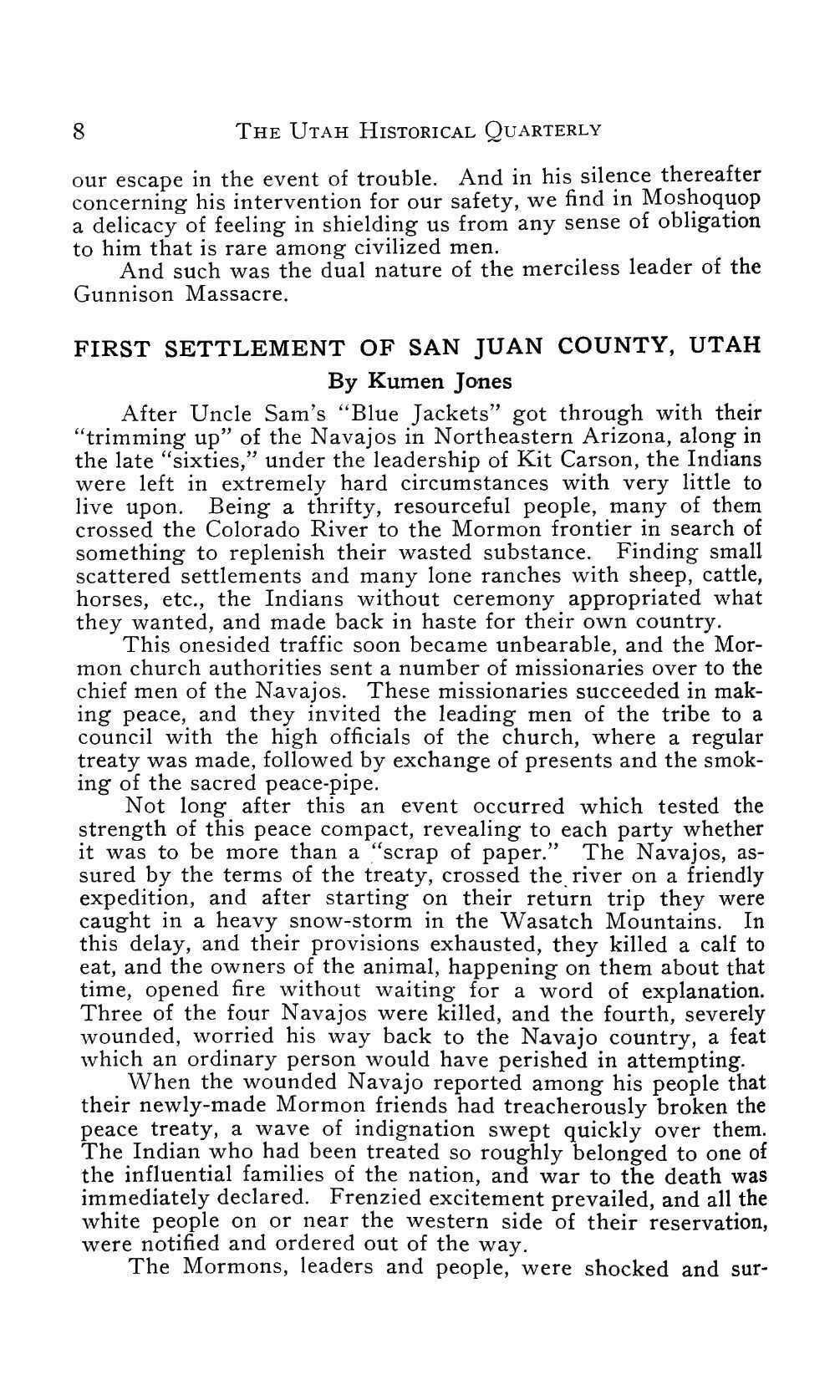 Page 8 of First Settlement of San Juan County, Utah