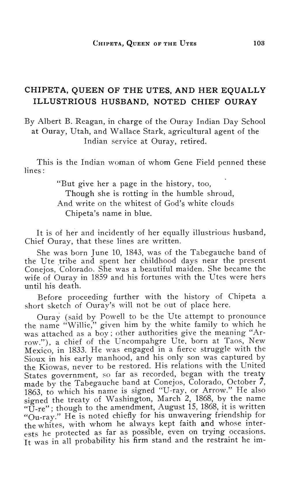 Page 102 of Chipeta, Queen of the Utes, and Her Equally Illustrious Husband, Noted Chief Ouray