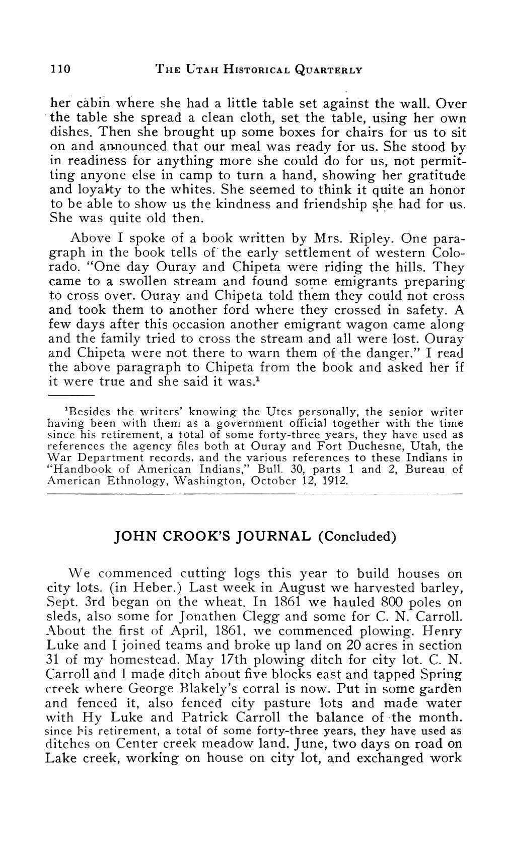 Page 110 of John Crook's Journal (concluded)