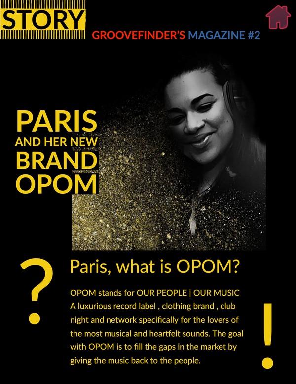 Page 4 of Groovefinder's Magazine #2 - Paris Cesvette's new brand OPOM