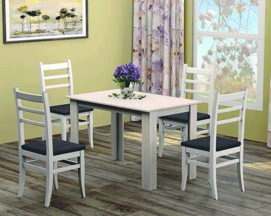 Маса Дани К001 + 4 бели стола 06- мебели Дискрет