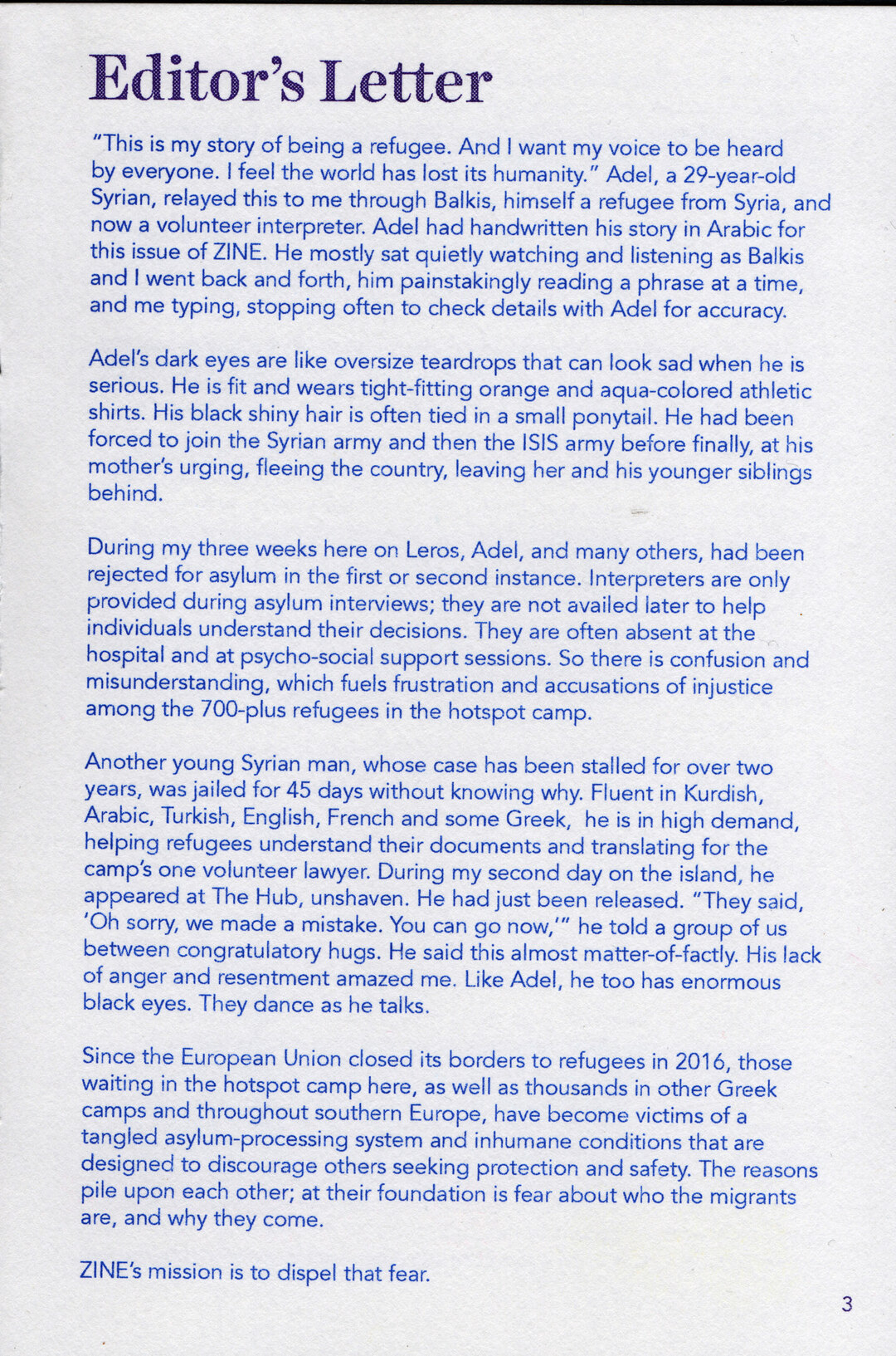Page 4 of ZINE Winter 2019 Editor's Letter