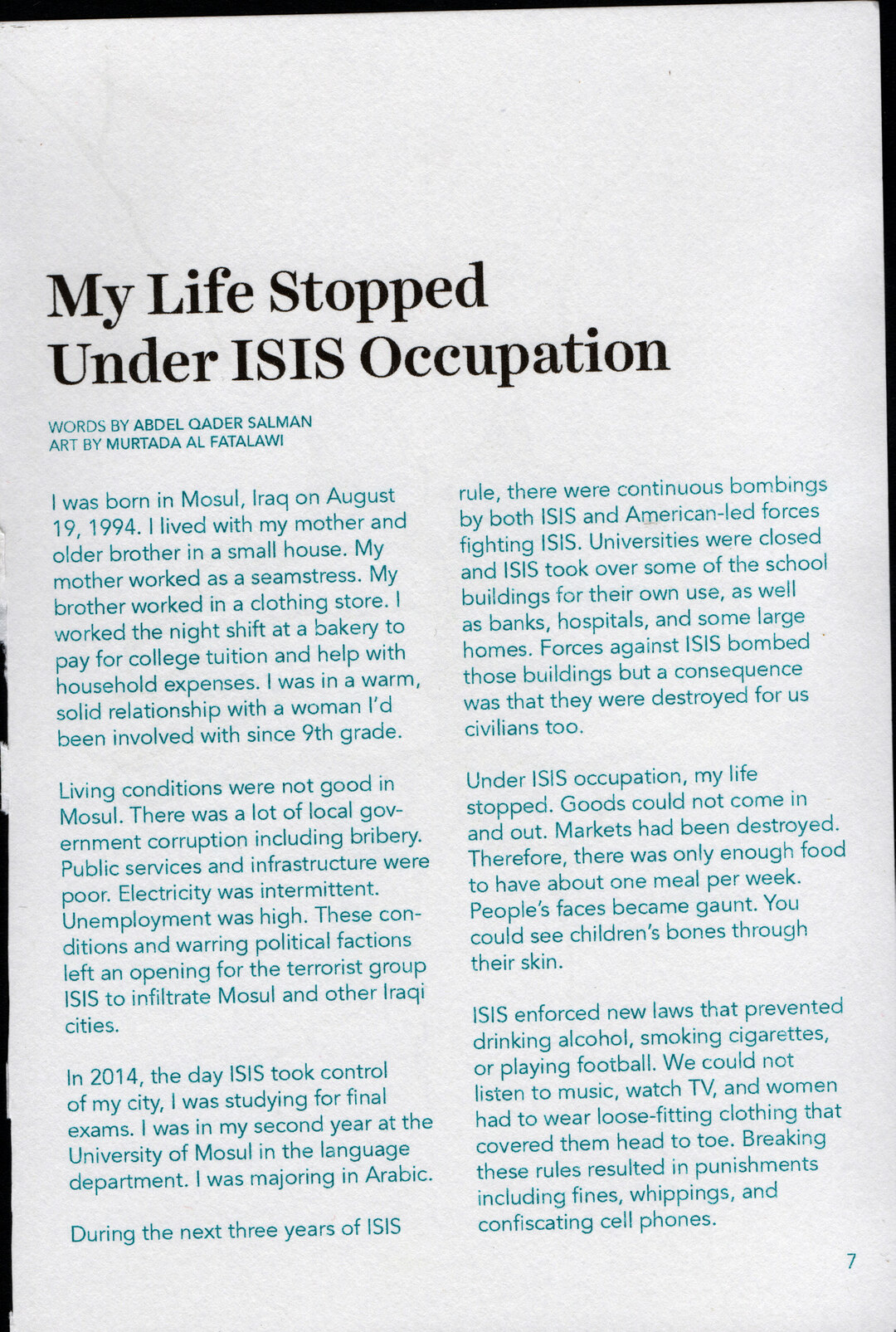 Page 8 of My Life Stopped Under ISIS Occupation