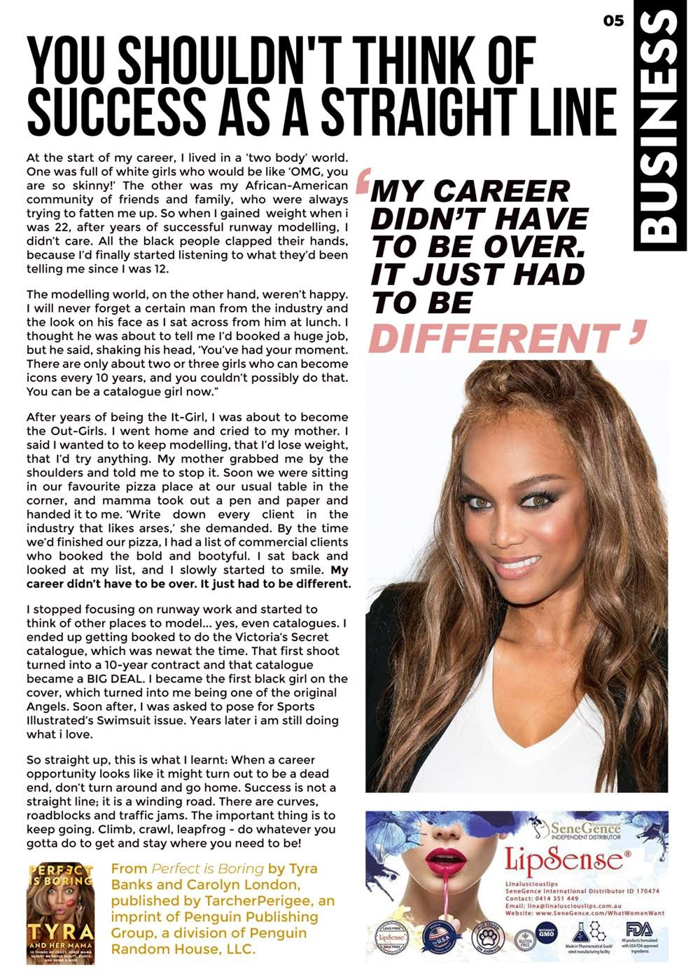 """Page 5 of \""""You shouldn't think of success as a straight line!\"""" - Tyra Banks"""