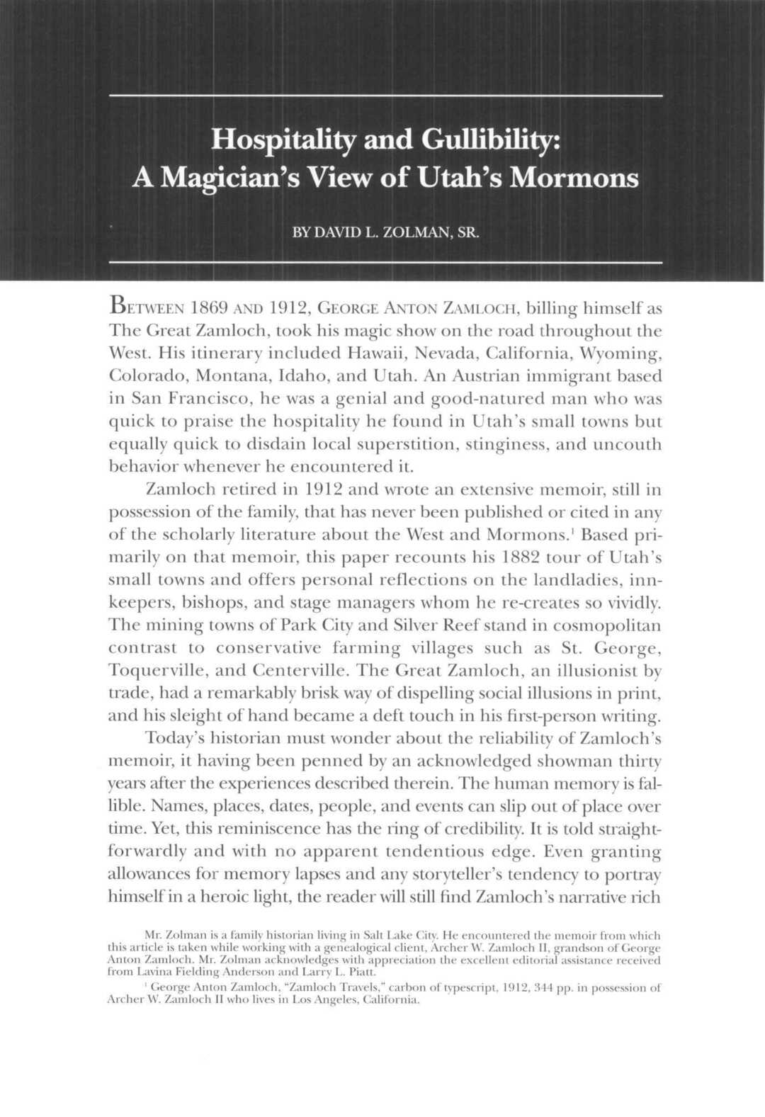 Page 36 of Hospitality and Gullibility: A Magician's View of Utah's Mormons