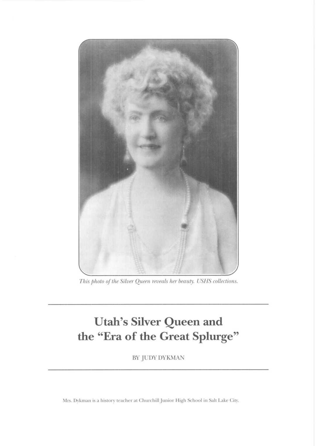 """Page 6 of Utah's Silver Queen and the """"era of the Great Splurge"""""""