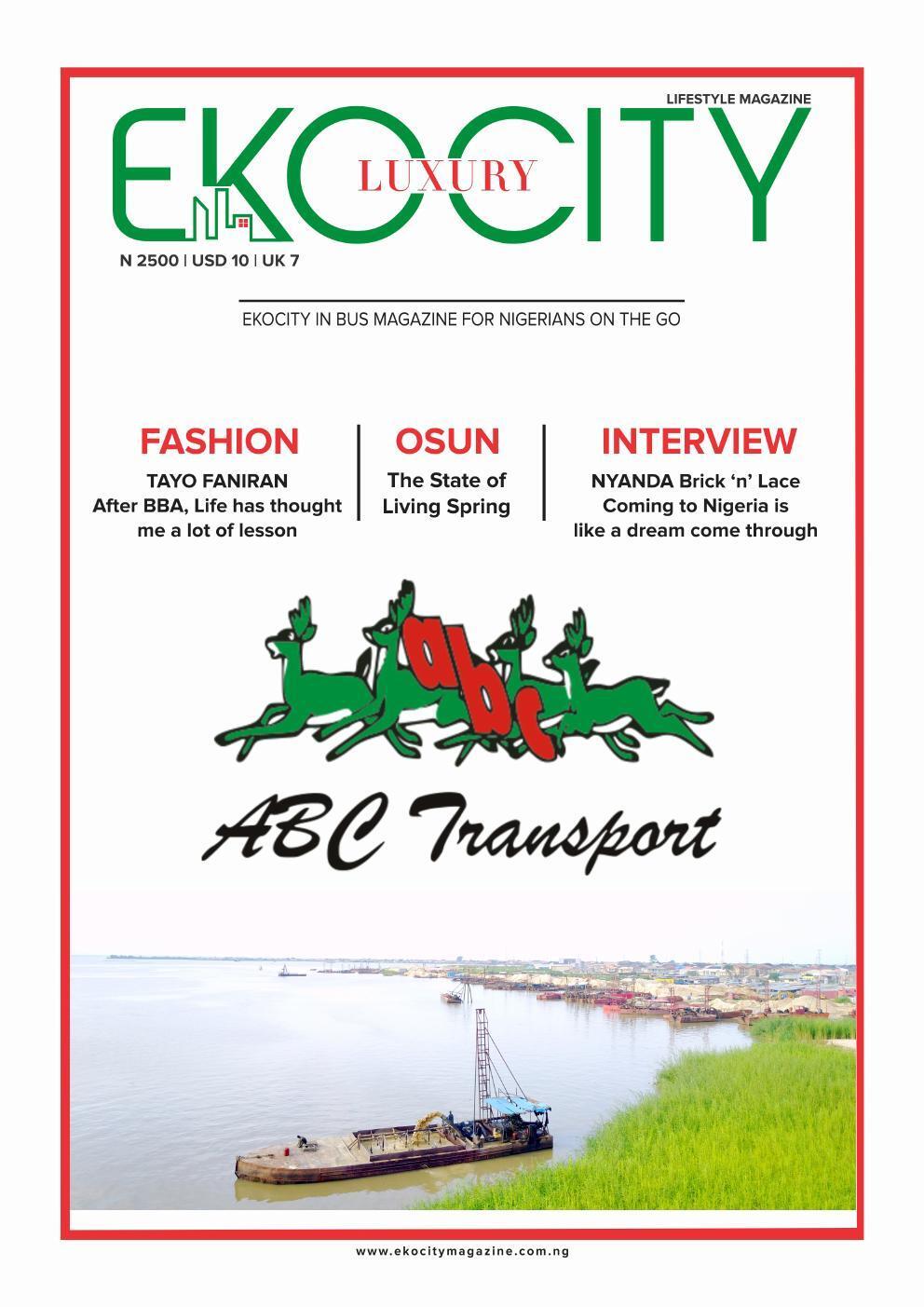 Page 1 of Ekocity Inbus Magazine of ABC Transport.