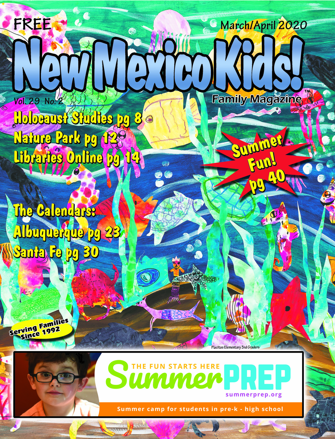 Page 1 of New Mexico Kids! family magazine March/April 2020