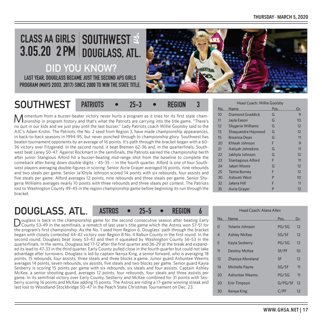 Page 17 of 2020 GHSA Basketball State Championships