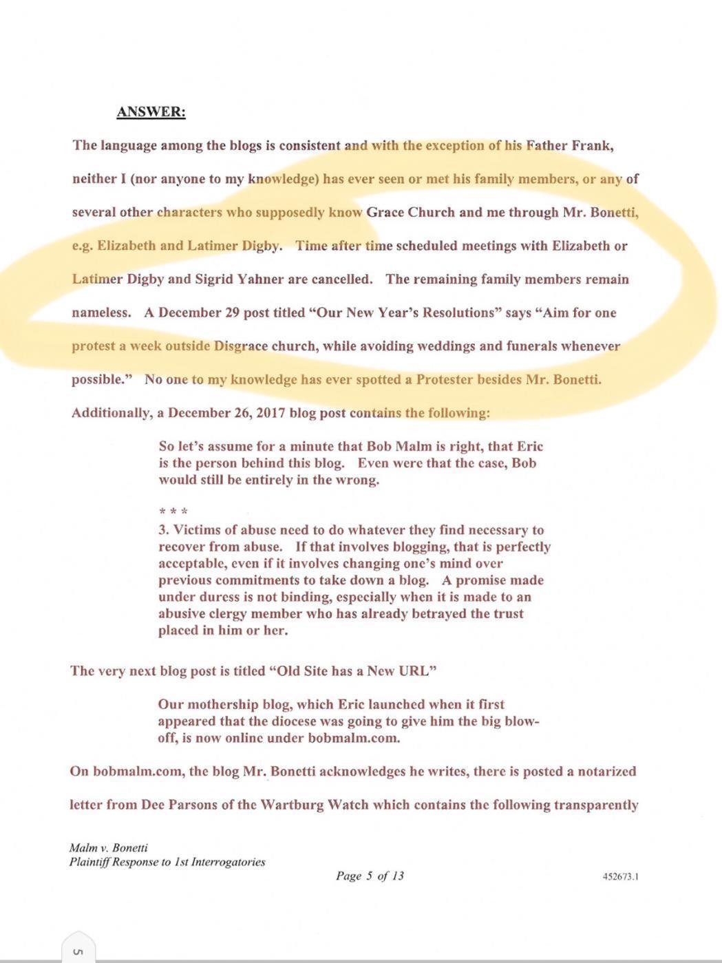 Page 1 of Bob Malm Perjury
